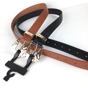 Boutique set 2 belts vegan leather size L